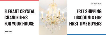 Elegant Crystal Chandelier Ad in White Email header Design Template