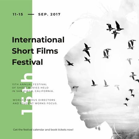 Film Festival invitation Woman and flying Birds Instagram AD – шаблон для дизайна