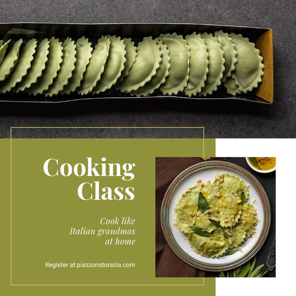 Cooking Class Ad with Tasty Italian Dish —デザインを作成する