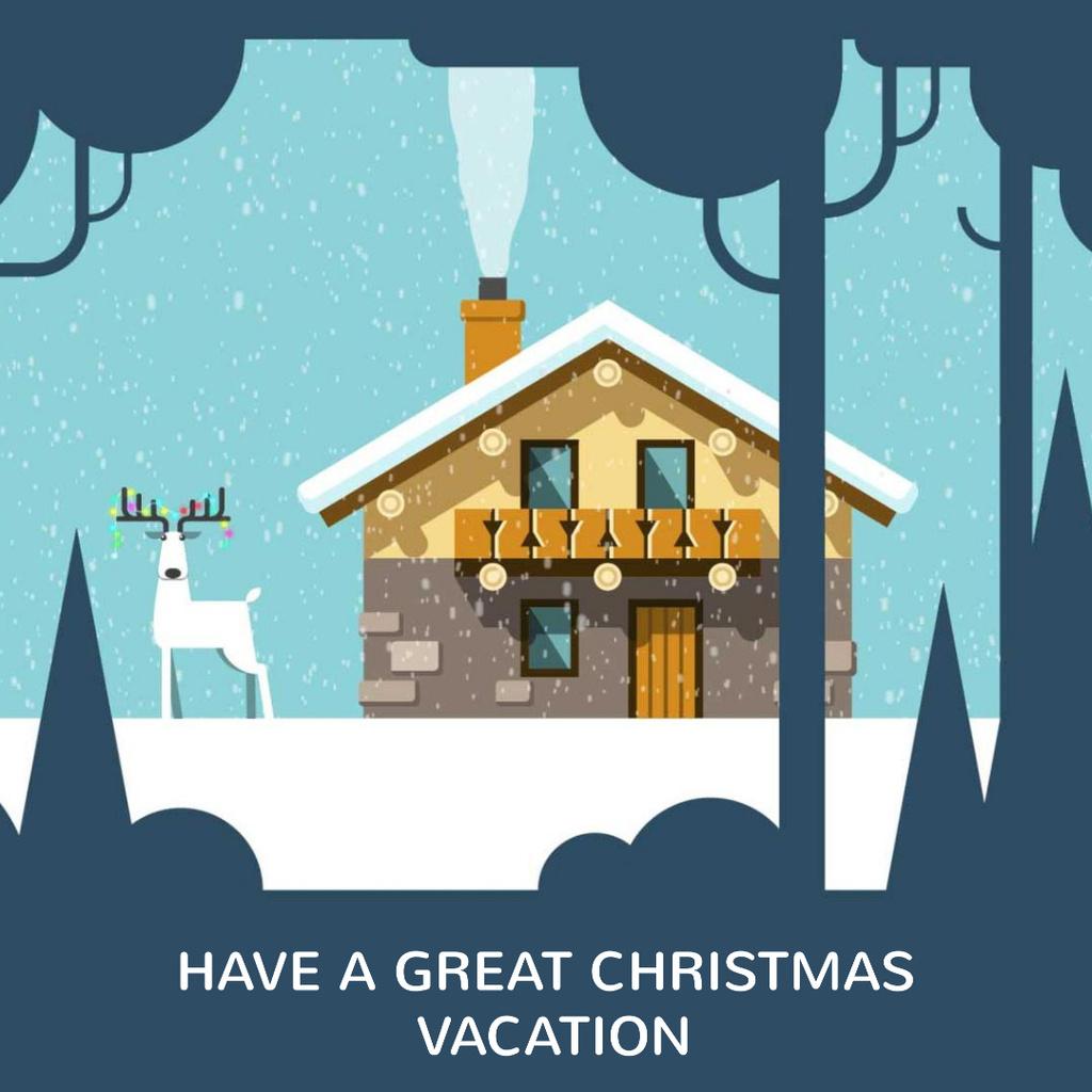 Christmas deer by house in winter — Создать дизайн