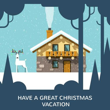 Plantilla de diseño de Christmas deer by house in winter Animated Post