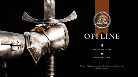 Warrior holding iron Sword Twitch Offline Banner – шаблон для дизайна