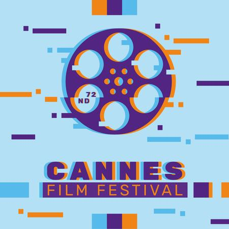Designvorlage Cannes Film Festival Announcement with Glitch Effect für Instagram