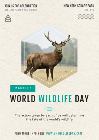 Ontwerpsjabloon van Poster van World wildlife day with Deer