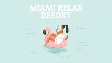 Woman relaxing on flamingo floating ring