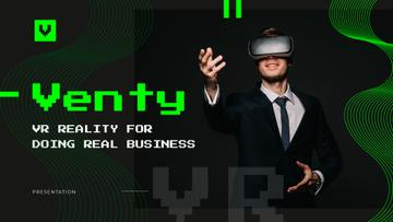 Virtual Reality Guide with Businessman in VR Glasses