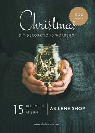 Christmas Decoration Workshop Woman holding Garland Flayer Modelo de Design