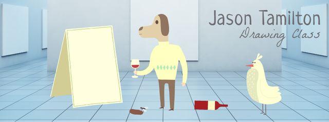 Modèle de visuel Dog character spilling wine on canvas - Facebook Video cover