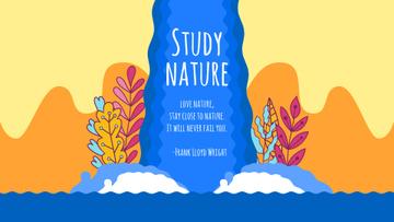 Nature Studies Beautiful Plants by Waterfall