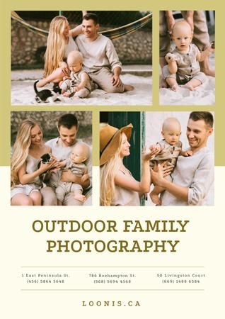 Ontwerpsjabloon van Poster van Photo Session Offer with Happy Family with Baby