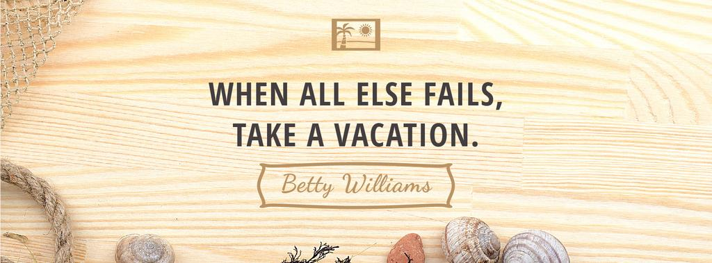 Vacation Inspiration Shells on Wooden Board | Facebook Cover Template — Modelo de projeto