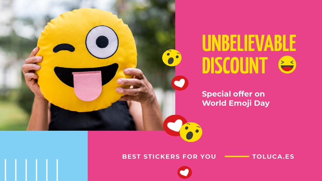 World Emoji Day Offer Girl Holding Funny Face — Створити дизайн