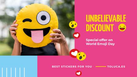 Designvorlage World Emoji Day Offer Girl Holding Funny Face für Full HD video