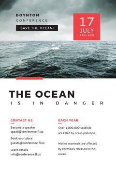 Ecology Conference Invitation Stormy Sea Waves | Tumblr Graphics Template
