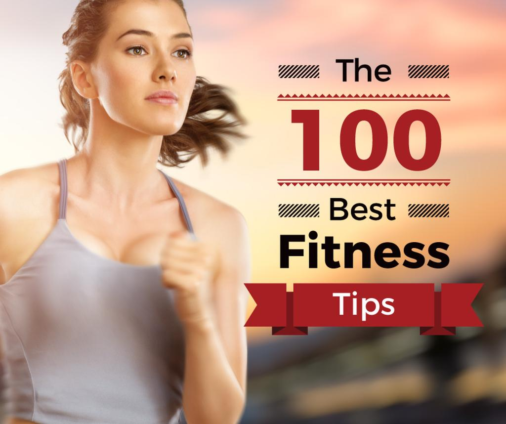 best fitness tips poster with sporty young woman running  — Crear un diseño