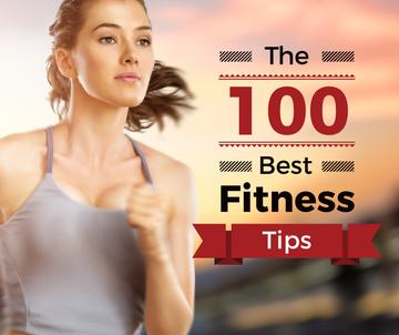 best fitness tips poster with sporty young woman running