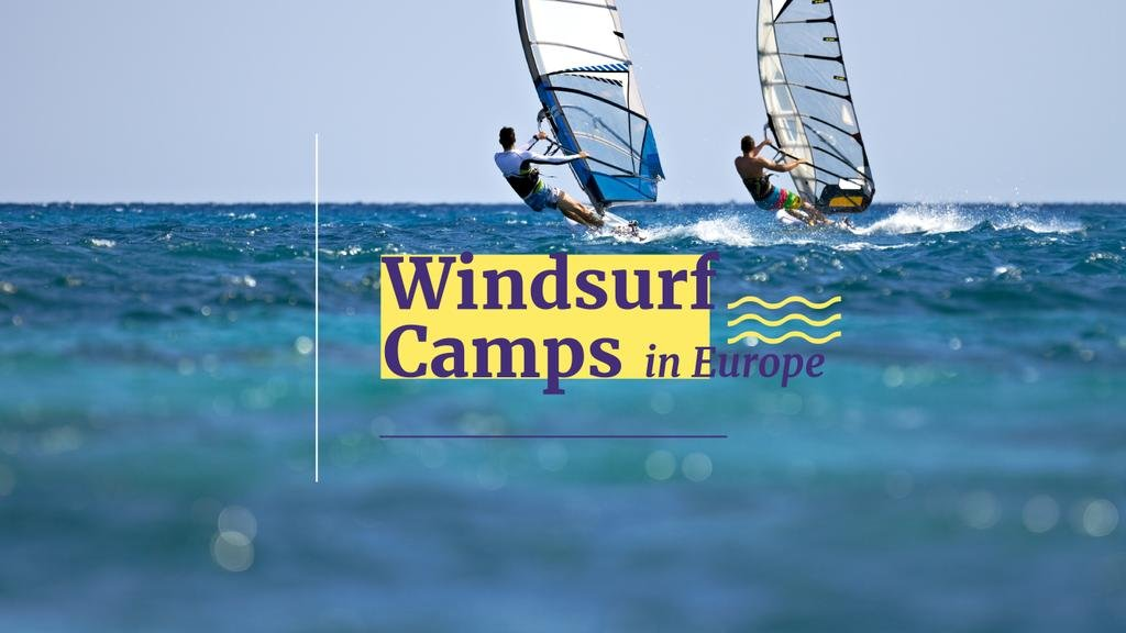 Windsurfing Tour Offer with Men Riding Boards — Створити дизайн