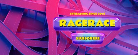 Racing Game stream with City Roads Twitch Profile Banner Modelo de Design