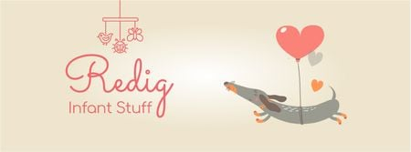 Dog flying on heart-shaped balloon Facebook Video cover Modelo de Design