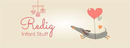 Ontwerpsjabloon van Facebook Video cover van Dog flying on heart-shaped balloon