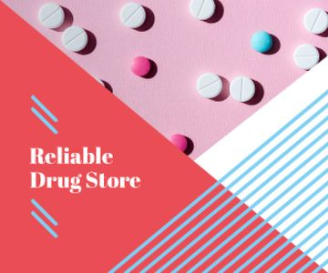 Drugstore Ad Pills on Pink Surface | Medium Rectangle Template