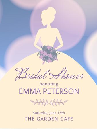 Bridal shower invitation with Bride silhouette Poster US Tasarım Şablonu