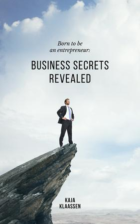 Confident Businessman Standing on Cliff Book Coverデザインテンプレート