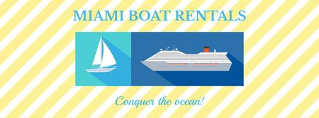 Template di design Boat rentals advertisement Facebook cover