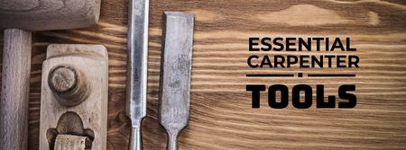 Essential carpenter tools Offer Facebook coverデザインテンプレート