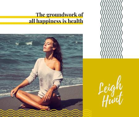 Woman mediating at the beach Facebook Design Template