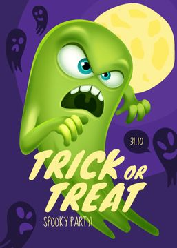 Halloween Spooky Party Invitation Scary Ghost | Flyer Template