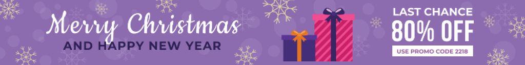 Christmas Sale Gift Boxes in Purple Leaderboard – шаблон для дизайна