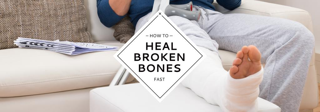 Man with broken bones sitting on sofa reading newspaper — Créer un visuel
