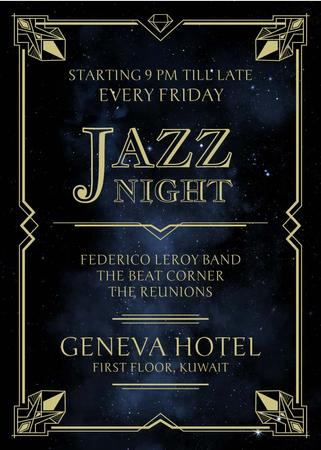 Ontwerpsjabloon van Invitation van Jazz Night Invitation on Night Sky