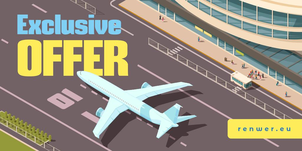Airlines Ticket Offer with Plane at the Airport Runway — Maak een ontwerp