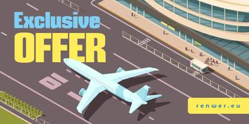 Airlines Ticket Offer with Plane at the Airport Runway