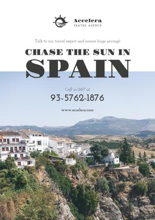Travel Offer to Spain with mountains landscape Poster Design Template