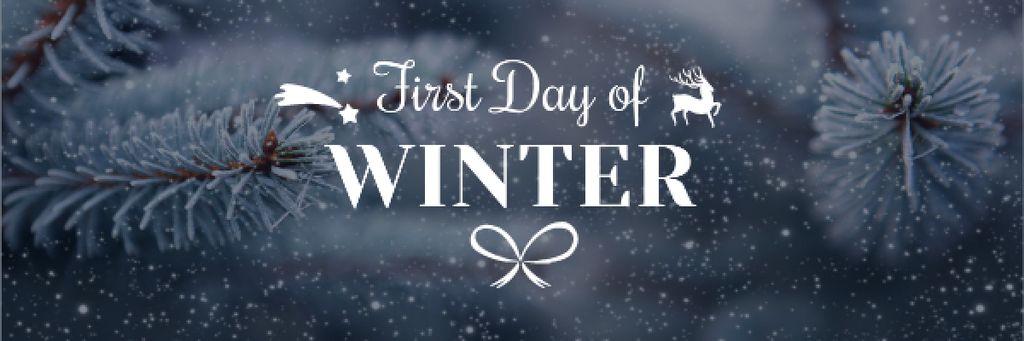 First Winter Day Greeting with Frozen Fir Tree Branch Email header – шаблон для дизайна