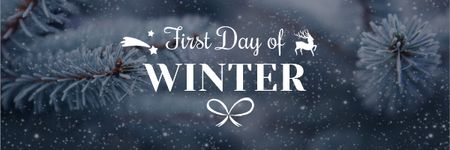 Plantilla de diseño de First Winter Day Greeting with Frozen Fir Tree Branch Email header