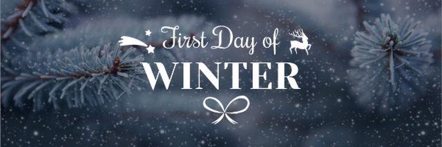 Ontwerpsjabloon van Email header van First Winter Day Greeting with Frozen Fir Tree Branch