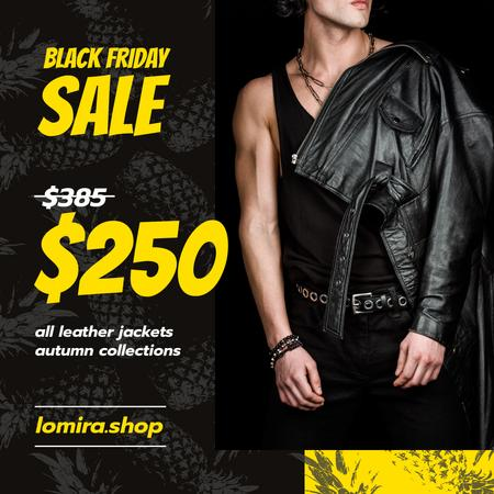 Template di design Black Friday Sale Man in Leather Jacket Instagram AD