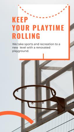 Basketball playground promotion Mobile Presentationデザインテンプレート