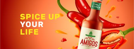Ontwerpsjabloon van Facebook cover van Hot Chili Sauce bottle