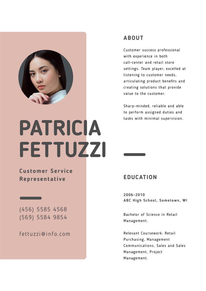Customer Service Representative skills and experience — ein Design erstellen