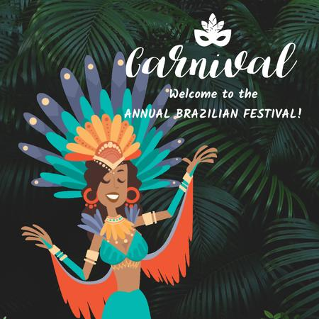 Plantilla de diseño de Woman dancing at Rio carnival Animated Post