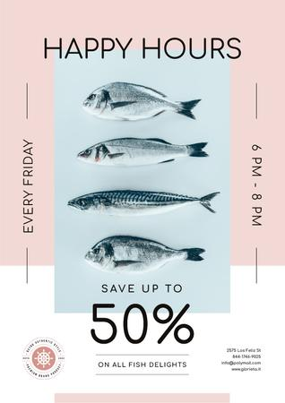Happy Hours Offer on Fresh Fish Poster Design Template