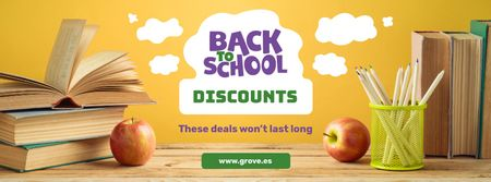 Back to School Discount with Books on Table Facebook cover Modelo de Design