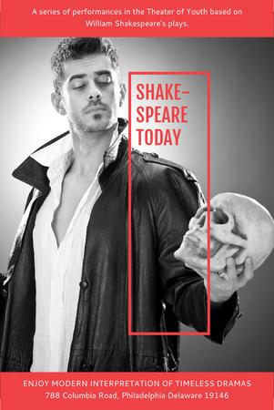 Theater Invitation with Actor in Shakespeare's Performance Pinterest Modelo de Design