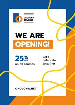 Education Courses Opening Offer Geometric Frame | Flyer Template