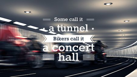 Bikers Riding in Road Tunnel Title Modelo de Design